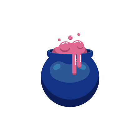Witch magic potion in cauldron isolated on white background - decorative element of sorcery pink liquid in deep blue boiler for halloween design in flat style, vector illustration.