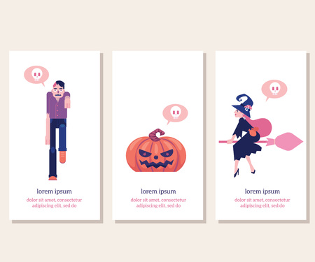 Halloween vertical banners set with traditional symbols of holiday in flat vector illustration - witch on broomstick, walking zombie with hole in skull and carved pumpkin for greeting or invitation.