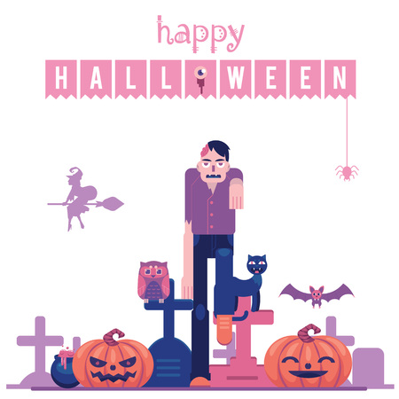 Happy halloween congratulation banner with zombie with hole in skull walking on graveyard with tombs and carved pumpkins isolated on white background in flat vector illustration.
