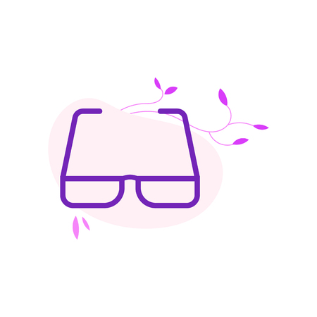 Eyeglasses with violet frame in flat style isolated on white background with decoration. Eyewear to improve vision - spectacles with modern colorful bezel in vector illustration. Banque d'images - 106081121