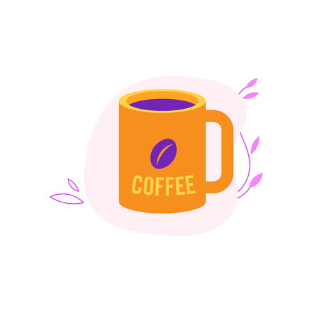 Cup of coffee in yellow and violet colors isolated on white background with decoration - mug with hot invigorating drink for breakfast or coffee break in flat vector illustration.