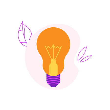 Incandescent light bulb flat icon with yellow luminous glass and violet socket isolated on white background with decoration - vector illustration for innovation and creativity concept.