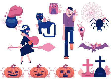Cartoon halloween autumn holiday symbols set. Black cat, jack o lantern pumpkins flying witch bowl, zombie spider in net, flying owl and bat and cemetory tombstones. Vector illustration