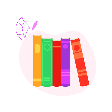 Stack of standing closed books with colorful covers isolated on white background with decoration for studying or reading leisure concept in flat vector illustration.