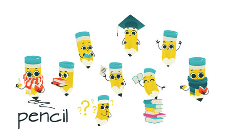 Cute pencil cartoon characters set with reading and studying office elements isolated on white background - funny drawing supplies with smiling faces for back to school concept in vector illustration.