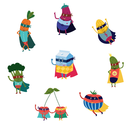 cartoon fruit and vegetables hero character concept set. Funny carrot, broccoli watermelon lemon cherry and milk package in cape mask flying dashing to help. vector characters protecting people health Illustration