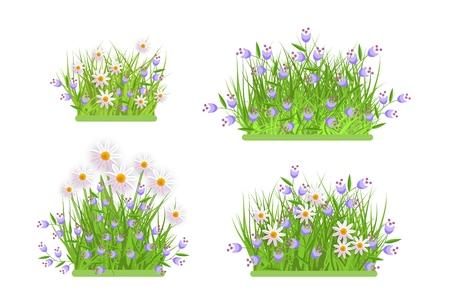 Margherita, camomilla e campanule sul prato verde erba foglie cespuglio icona set. Oggetto primavera estate per vendita al dettaglio, poster di vendita e design pubblicitario. Illustrazione vettoriale isolato