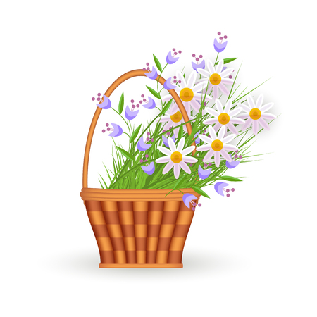 flat easter holiday wicker basket with colored chamomile daisy flowers and bellflowers. Spring icon object for your design. Isolated vector illustration on a white background.
