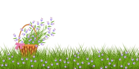 Spring floral border with little blue wild flowers on fresh green grass and bouquet in wicker basket with bow isolated on white background - vector illustration of seasonal frame.