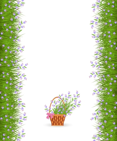 Spring or summer border of little blue wild flowers on fresh green grass and bouquet in wicker basket with bow isolated on white background - vector illustration of floral frame.