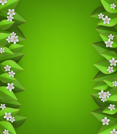 Floral border with white apple or cherry blossoms on fresh leaves on green gradient background - decorative spring or summer frame with flowers and greenery in vector illustration. Illustration