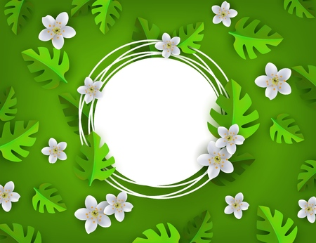 Green leaves with white flowers frame, background template white grunge circle. Abstract natural decoration pattern. Summer or spring fresh poster, banner design vector illustration Illustration