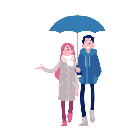 Vector illustration of young couple holding hands walking under umbrella in flat style isolated on white background. Girl putting out her hand from under umbrella in rain and keeping guy by arm.