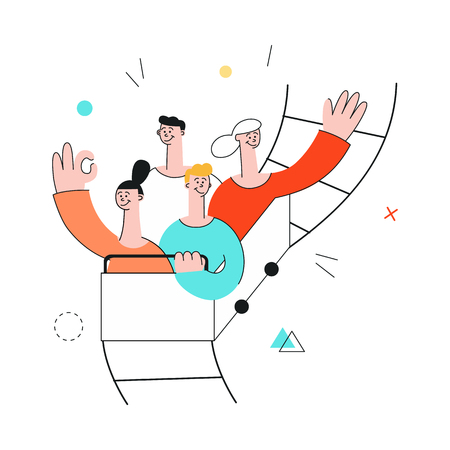 Vector happy team, smiling male and female colleagues riding roller coaster with excitement. Successful cooperation, teambuilding within businessmen and businesswomen in flat style. Illustration