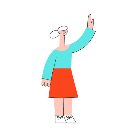 Vector female character waving hands to colleagues greeting after successful development meeting, collaboration. Office worker, business woman, and cooperation and teambuilding.