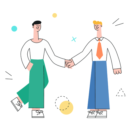 Vector male characters manager shaking hands after successful development meeting, collaboration. Male office worker, business man, and cooperation and teambuilding.