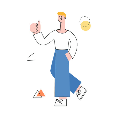 Vector male character with notebook and man manager showing thumbs up after successful development meeting, collaboration. Male office worker, business man, and cooperation and teambuilding. Stock Illustratie