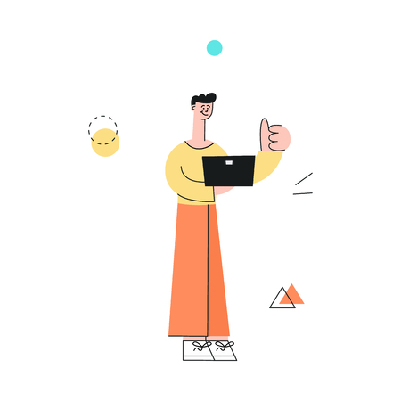 Vector male character with notebook showing thumbs up after successful development meeting, collaboration. Male office worker, business man, and cooperation and teambuilding.