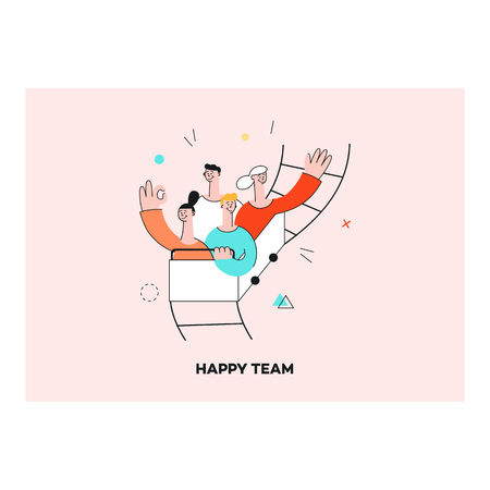 Vector happy team concept, smiling male and female colleagues riding roller coaster with excitement. Successful cooperation, teambuilding within businessmen and businesswomen in flat style.