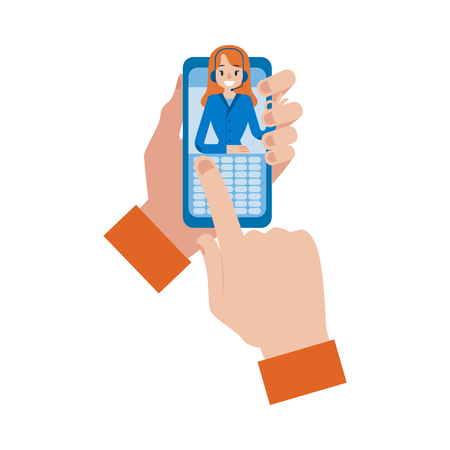 Vector hotline support concept with man hand holding smartphone with online female assistant in headset showing okey gesture. Customer support woman, call center symbol and communication technologies.