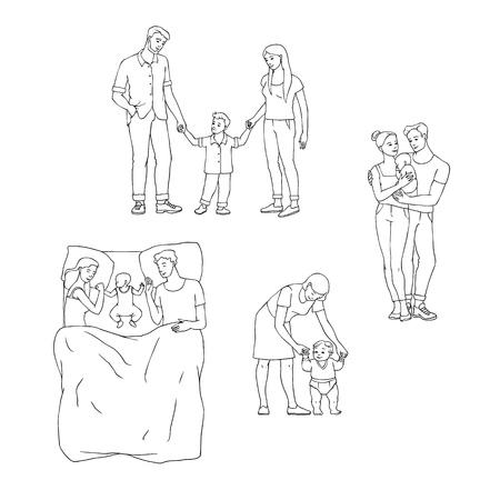 Vektorfamilie, die Satz umarmt. Erwachsene Paare Mutter und Vater umarmen kleine Jungen, Mädchen, Kinder und Babys. Glückliche männliche, weibliche Charaktere, die stehend lächeln, zusammen auf dem Sofa liegen, skizzieren monochrome Illustration