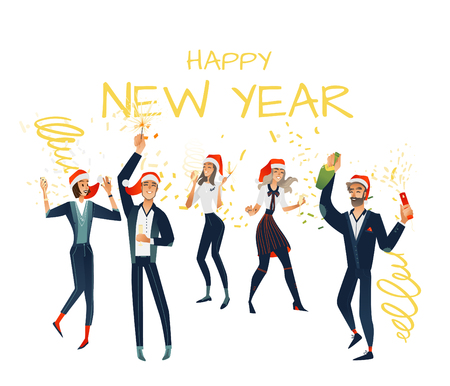 Vector cheerful young men, women at merry christmas, new year party in corporate clothing and xmas hat holding champagne glass, bottle sparkles having fun set. Happy office workers manager at holiday Illustration