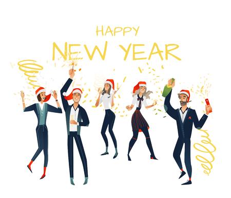 Vector vrolijke jonge mannen, vrouwen met vrolijk kerstfeest, nieuwjaarsfeest in bedrijfskleding en kerstmuts met champagneglas, fles schittert met leuke set. Gelukkig kantoorpersoneel manager op vakantie