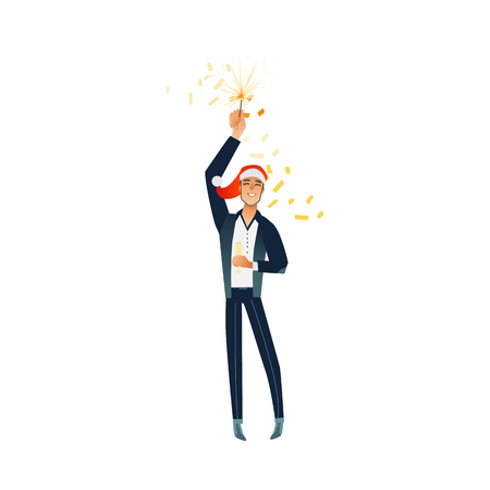Vector cheerful young man at merry christmas party in corporate clothing and xmas hat holding champagne glass, sparkler having fun smiling. Happy office worker, male manager at holiday event.