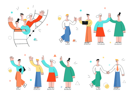 Vector male, female characters waving hands to colleagues, riding at roller coaster, shaking hands, giving high five. Office workers, business men, women and cooperation and teambuilding. Stock Illustratie