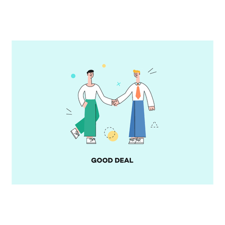 Vector good deal concept poster with male characters manager shaking hands after successful development meeting, collaboration. Male office worker, business man, and cooperation and teambuilding.