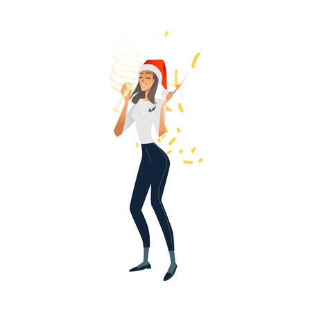 Vector cheerful young woman at merry christmas party in corporate clothing and xmas hat holding champagne glass, sparkler having fun smiling. Happy office worker, female manager at holiday event.