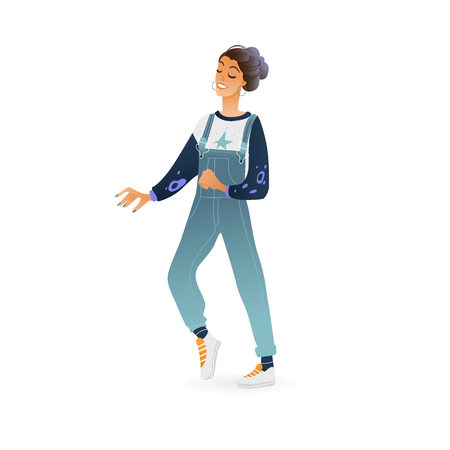 Vector young long haired woman dancing in denim overalls, sneakers. Cartoon illustration with attractive caucasian girl at party. Female dancer character, isolated illustration. Illustration