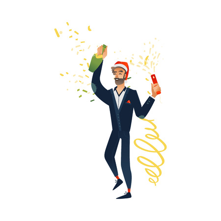 Vector cheerful young bearded man at merry christmas party in corporate clothing and xmas hat holding champagne glass, bottle having fun smiling. Happy office worker, male manager at holiday event.