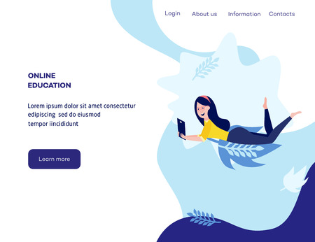 Online reading and education concept with young smiling woman learning and studying on tablet lying prone on floor on web page template in flat cartoon vector illustration.