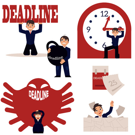 Exhausted businessman and deadline, overwork concept scenes set. Upset character holding huge kettlebell weight, stop clock hand piled up with papers, protecting from monster. Vector flat illustration Illustration