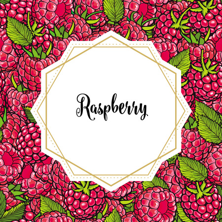 Raspberry seamless pattern with fresh ripe berries and green leaves in sketch style and white sticker on top for text - hand drawn pink summer fruits in vector illustration. Illustration