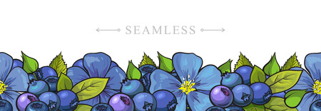 Sketch garden berries, leaves and flowers seamless border frame background. Blackberry or black currant with blue flowers. Fresh juicy sweet food, Symbol of healthy lifestyle dieting vector