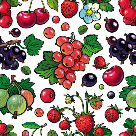 Sketch garden berries, leaves and flowers seamless pattern. Gooseberry, blackberry currant strawberry and raspberry. Fresh juicy sweet food, Symbol of healthy lifestyle dieting, vector illustration Stock fotó - 107652621