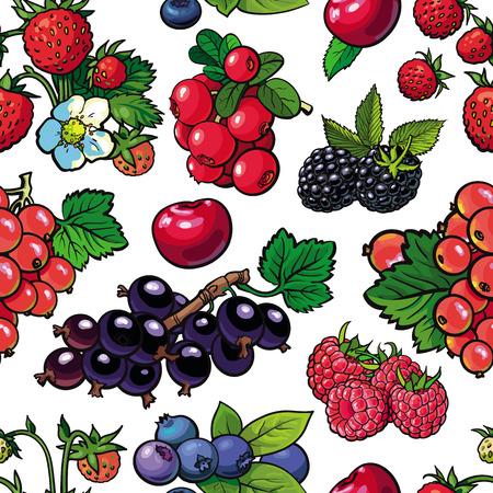 Skizzieren Sie Gartenbeeren, Blätter und Blumen nahtloses Muster. Stachelbeere, Brombeer-Johannisbeer-Erdbeere und Himbeere. Frisches saftiges süßes Essen, Symbol der gesunden Lebensstildiät, Vektorillustration