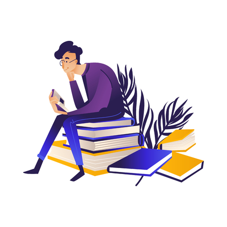 Young man reading - hansome male cartoon character in eyeglasses sitting on pile of big books and reading with interest. Isolated cartoon vector illustration of process of study or rest.