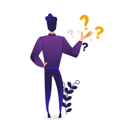 Thinking young man making choice standing surrounded by question marks. Trendy violet gradient vector illustration of cartoon male character reflecting on solution of problem.