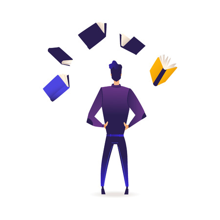 Young man stands back surrounded by flying books and information sources isolated on white background. Back view of male cartoon character of student or analyst in gradient vector illustration. Illustration
