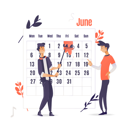 Planner and time management application concept isolated on white background - two men marks date with red paint on big calendar. Cartoon vector illustration of computer software for time planning. Stock Illustratie