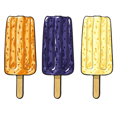 Hand drawn popsicle ice cream set with orange, blackberry and vanilla flavour. Refreshing summer snack, delicious dessert food on stick. Vector sketch isolated illustration