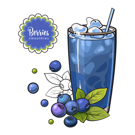 Blueberry smoothie in sketch style isolated on white background - healthy vitamin cool drink with blended fresh ripe berries and ice in glass, hand drawn vector illustration.