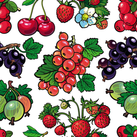 Summer berries seamless pattern with fresh ripe fruits and green leaves in sketch style on white background. Hand drawn natural backdrop with organic sweet food in vector illustration. Иллюстрация