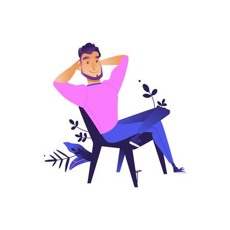 Junger Mann, der auf dem Stuhl sitzt und sich ausruht, sich nach der Arbeit oder Bildung auf abstrakten floralen Elementen Hintergrund entspannt. Männliche Zeichentrickfigur, die draußen ruht. Isolierte Vektorgrafik Vektorgrafik