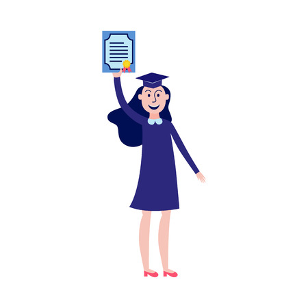 Happy girl student graduate holding diploma in her hand up isolated on white background - flat female character with certificate of successful completion of studies in vector illustration.