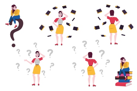 Adult doubtful women set. Sad female characters sitting at books pile, standing in thoughtful pose spreading hands, scratching head with negative emotions with questions around. Vector Illustration