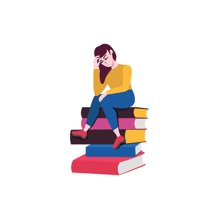 Adult sad woman sitting at big books pile in thoughtful pose scratching head with negative emotions. Vector illustration and doubtful female charcater.